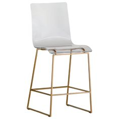 "The King counter stool from Gabby Furniture offers repose with a refined air. Available in a variety of chic finishes, this contemporary furnishing boasts a Lucite acrylic seat, cut in sleek form and perched atop a starkly contrasting metal base. The height creates the ideal match for kitchen seating and entertaining spots. 19.35""W x 17.5""D x 40""H; Seat: 23.45""H; Footrest: 8""H. Shown in: Gold. Acrylic Lucite, metal. Minimum purchase of 2."