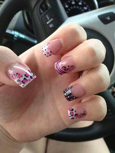 White tip French manicure with pink, white & black nail art, cheetah, zebra, tiger stripes, polka dots - free hand