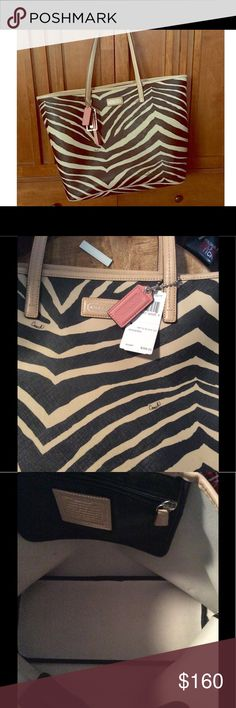 ♣️NEW♣️ Large Coach Zebra Tote ♣️This NEW very stylish Large Coach Zebra Tote with pink tags. Never used and kept in silk bag. Black & Cream, 1-zip pocket and 2 other small open pockets. $160   🌸 Please ask all your questions before you purchase. I'm happy😊 to help  🌸 Sorry, no trades or hold. 🌸 Please, no lowball offers. 🌸 Please use the Offer Button 🌸 Bundle for your best prices 🌸 Ships next day, if possible 🎀 Thank you for visiting my closet 🎀 Coach Bags Satchels