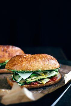 summer squash sandwich with garlic scape aïoli