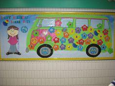 our groovy peace bus bulletin board.