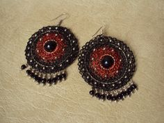 Fire Eye. Crochet Earrings. Black and Red. Custom Jewelry. Lace Jewelry.Crochet Jewelry.