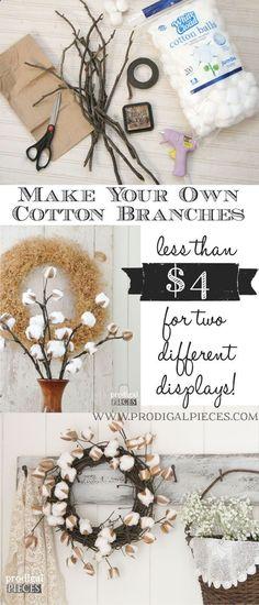 DIY Farmhouse Cotton Branches - A Video Tutorial by Prodigal Pieces www.prodigalpiece... #prodigalpieces