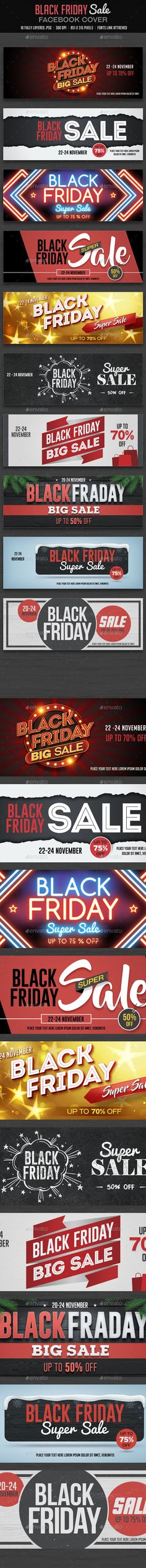 Black Friday Facebook Cover  — PSD Template #advertising #851x315 • Download ➝ https://graphicriver.net/item/black-friday-facebook-cover/18393857?ref=pxcr