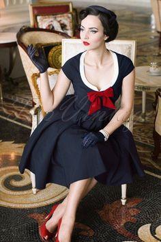 Vintage Diva Dovima Swing Dress in Dark Navy 20479 20170301 Rockabilly Fashion, Retro Fashion, Vintage Fashion, Lolita Fashion, Burlesque Vintage, Pinup, Vintage Dresses, Vintage Outfits, Idda Van Munster