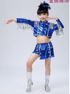 1610542bb2 Traje de la danza hip hop tops + pants azul 6 tamaños B017 rendimiento  servicio danza