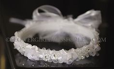 Girls Headpiece Style CR440- WHITE Ribbon Headband with Rhinestone Accents and Comb $17.99