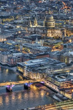 Great shot of the view from the dizzy heights of The Shard towards St Paul's Cathedral.