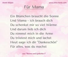 """Poem for Day – for # kindergarten and # elementary school – from """"Rhymes and … - Valentinstag Mother Poems, Mothers Day Poems, Primary School, Elementary Schools, Papa Tag, Kindergarten Portfolio, Diy Crafts To Do, Hacks Videos, Event Planning"""