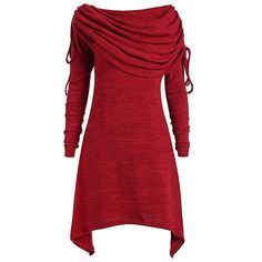 Women Long Foldover Collar Plus Size Ruched Top Red Sweatshirt Women Tunic Top Casual Blusas Mujer Big Size Wine Red XL Plus Size T Shirts, Plus Size Tops, Moda China, Oversize Pullover, Outfits Plus Size, Vestidos Vintage, Collar Top, Collar Blouse, Blouse Dress