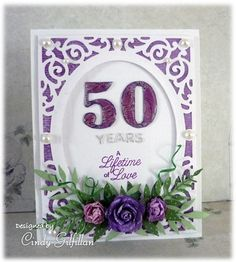 Mauve 50th Anniversary by frenziedstamper - Cards and Paper Crafts at Splitcoaststampers