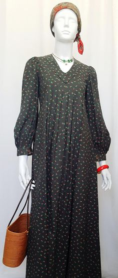 Vintage 60's LAURA ASHLEY WALES Long Blouson Prairie Dress - Welsh Dark Moss Green Cotton w Fine Rose Bud Print, Empire Line & Full Sleeves Folk Fashion, Full Sleeves, Laura Ashley, Green Cotton, Rose Buds, Welsh, Empire, Dark, Long Sleeve