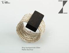 Ring Silberdraht verstrickt, Ebenholz http://www.atelier-zellhuber.de/index.php/schmuck.html #Silber #Ebenholz #Edelholz #individuell #Design