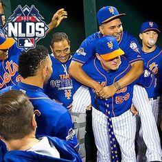 Mets taking #WinForRuben to heart. Matt Reynolds carries Ruben Tejada on his back into the dugout.