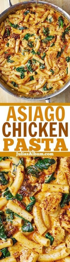 Asiago Chicken Pasta with Sun-Dried Tomatoes and Spinach - with everything smothered in a delicious Asiago cheese sauce. Easy recipe that tastes great and looks great. If you love Asiago cheese, this is a great Baked Pasta Recipes, Best Chicken Recipes, Sausage Recipes, Casserole Recipes, Crockpot Recipes, Healthy Recipes, Potato Recipes, Soup Recipes, Vegetarian Recipes