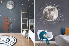 Our roundup of our favourite cosmic inspired clothing and interiors for your little ones. With rockets, planets and a whole heap of stars! Boys Space Bedroom, Baby Bedroom, Boy Room, Diy Bedroom Decor, Nursery Decor, Home Decor, Unisex Nursery Colors, Nursery Grey, Nursery Wall Stickers