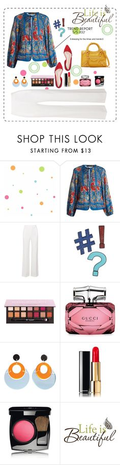 """""""Life is Beautiful !!"""" by pamphil ❤ liked on Polyvore featuring York Wallcoverings, Roberto Cavalli, Roland Mouret, Design Lab, Gucci, Toolally, Chanel, Brewster Home Fashions and Balenciaga"""