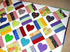 Hearts and Squares Scrappy Baby Toddler Quilt by memawsews on Etsy, $85.00