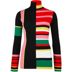 KENZO Striped wool jumper found on Polyvore featuring tops, sweaters, striped sweater, multi color sweater, high neck top, kenzo sweater and kenzo jumper