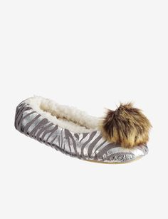 PJ Couture Silver Foil Zebra Print Slippers – Ladies|Stage Stores