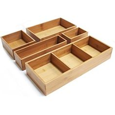 Seville Classics Cajas organizadoras de bambú para gavetas