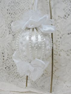 Handmade Christmas Tree Ornament White Satin Ball Pearls and Bows Made in Texas by Bobbye Dene