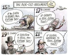 A sobering reflection on Climate Denial. Through the ages our thinking has been challenged but, clearly, as in Climate Denial, we have to study the facts. Anyone denying Climate Change is akin to the Flat Earth Society of yesterday year ! Luddites, in fact !
