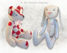 2 X Soft Toy Fabric Sewing PATTERNS Independent Design Teddy Bear /& Bunny Rabbit