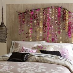 Headboard: String beads and hang from string or take fake flowers and hang from a tree branch!