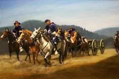 """Moving the Artillery thru the Pass."" Oils on masonite, approx. 24"" by 36"". All rights held by the artist, Herb Roe 2004."
