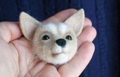 Needle felted brooch Dog Little dog Animal brooch Felt Brooch