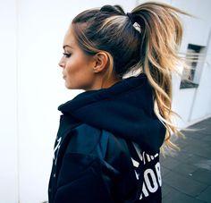 High Ponytail for Long Dark Brown Hair with Honey Blonde Balayage