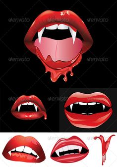 Vampire Lips with Blood #graphicriver