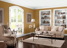 This is the project I created on Behr.com. I used these colors: MAYAN GOLD(310D-7),