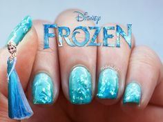 Frozen Inspired Nail Art #disney #disneynailart #disneynails #nailart Frozen Nail Art, Disney Frozen Nails, Disney Princess Nails, Disney Princesses, Cute Nail Art, Cute Nails, Pretty Nails, Frozen Nail Designs, Nail Art Designs