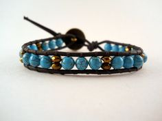 Bronze and Magnesite Beaded Leather Wrap Bracelet by PZWDesign