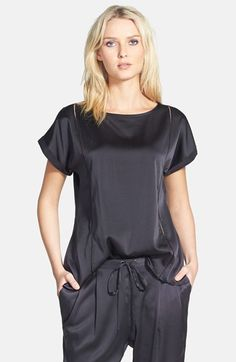 Eileen Fisher Bateau Neck Silk Blend Top available at #Nordstrom