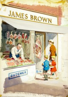 Come Take A Butcher's ~ (Which Means ' Come Take A Look' )~ Ladybird Books 1958 ~Shopping With Mother ~c.c.c~ (Cockney Rhyming Slang...Butcher's Hook = Look)