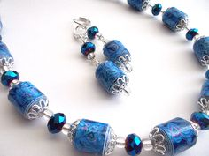 Madison Paper bead necklace and earrings in blue by honeybiscuits