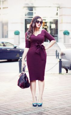 Plus Size Style, super cute dress. Luv the neckline, bow, and the color....ooooh the color