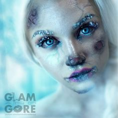 Frozen Elsa makeup www.youtube.com/GlamAndGoreMakeup Ohh I lreally like the frostbite idea...might do this.