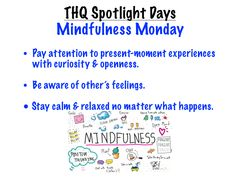 """This visual introduces students to """"Mindfulness Monday,"""" the first of five """"Spotlight"""" days that I incorporated into our weekly schedule to give special attention to important ideas and priorities. Mind Relaxation, Teaching Career, Weekly Schedule, Social Skills, Priorities, Forgiveness, Spotlight, Classroom Ideas, Students"""