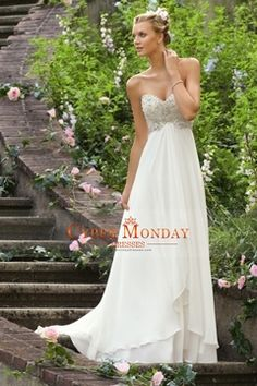 2015 Fast Delivery Wedding Dresses Empire Waist Sweetheart Chiffon With Beading&Sequince $129.99 CMDPCC1Q5FH - CyberMondayDresses.com for mobile