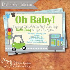cute wording  Car Boy Baby Shower Invitation  Precious Cargo  by smrpartydesigns, $10.00