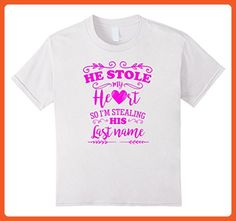 Kids He Stole My Heart Funny Bride To Be Pink T Shirt  6 White - Wedding shirts (*Partner-Link)