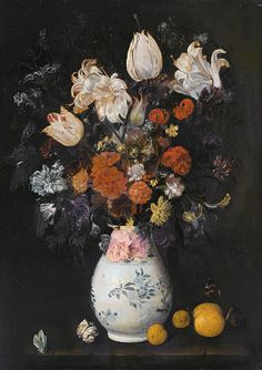 - Judith Leyster - stilleven van een vaas met bloemen - 1654 - Haarlem - een sterk licht-donker contrast, ze heeft opvallende kleuren als oranje, blauw en geel in haar schilderij gebruikt maar ook somberdere meer donkere kleuren hierdoor dramatisch effect. ook heeft het dieptewerking