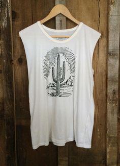 Cactus Unisex Muscle Wht/Blk