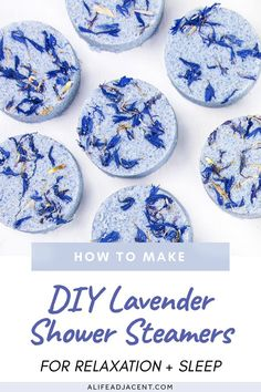 If you're under stress, you need to make these lavender DIY shower melts! Learn how to make aromatherapy shower steamers for sleep, relaxation, and wellness. Pop one of these into the shower before bed and enjoy the relaxing vapor. They're so easy to make with ingredients you likely already have on hand – baking soda, clay, arrowroot (or corn starch) and essential oils. These natural sleep remedies also make beautiful homemade gifts! #showersteamers #alifeadjacent #aromatherapy #essentialoils