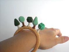 Forest Crochet Bracelet  Little Amigurumi Trees on a by biribis, $38.00