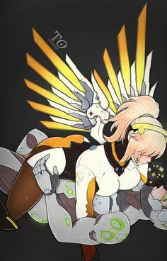Overwatch Mercy x Genji  >///> oh my...